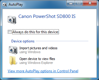 Windows 7 AutoPlay dialog box