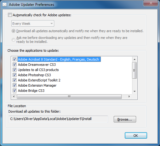 Disable Adobe Automatic Check for Updates