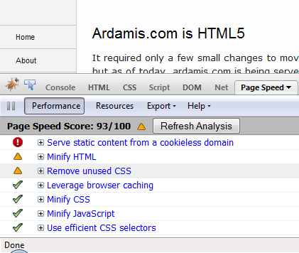 Ardamis.com PageSpeed score of 93/100