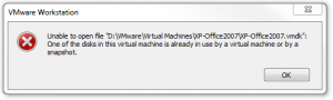 VMware Workstation - Unable to open file