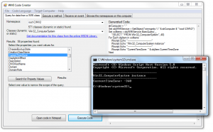 Microsoft's WMI Code Creator displaying a WMI query and VBScript