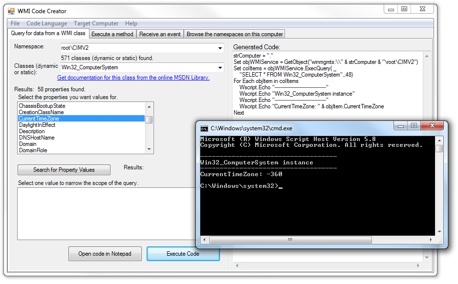 Building WMI queries with Wbemtest exe and WMI Code Creator